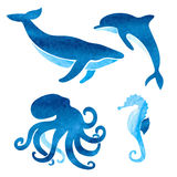Watercolor sea animals set. Royalty Free Stock Images