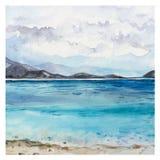 Watercolor Sea background Stock Photos