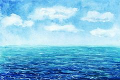 Watercolor Sea background. Hand drawn painting. Summer marine landscape.Watercolor seascape. Waterscape. postcard. Watercolor Sea background. Summer marine stock photography