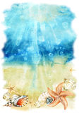 Watercolor sea bottom illustration with sea shells and starfishes Stock Image