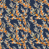 Watercolor sea buckthorn pattern Royalty Free Stock Images