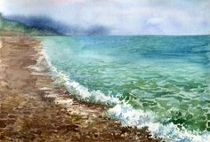 Watercolor sea coast. Waves at beach, hand drawn illustration Stock Photography