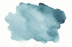 Free Watercolor Sea Green Spot On White Background Texture. Aquarelle Abstract Turquoise Backdrop.  Blue-green Stains On Paper Royalty Free Stock Photography - 195212407