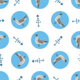 Watercolor sea gull seamless pattern. Hand drawn wallpaper. Marine background Stock Photos