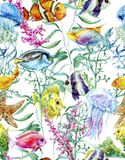 Watercolor sea life seamless background Royalty Free Stock Images