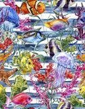 Watercolor sea life seamless pattern on a striped Royalty Free Stock Images