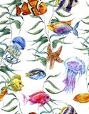 Watercolor sea life seamless pattern, underwater Stock Photo