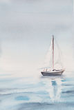 Watercolor sea morning a boat. Illustration Royalty Free Stock Images
