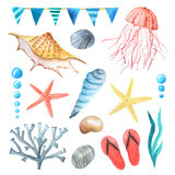 Watercolor sea nautical elements set Royalty Free Stock Photography