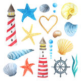 Watercolor sea nautical elements set vector illustration