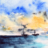 Watercolor sea ocean boat ship sunset bright landscape Royalty Free Stock Photos