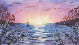 Watercolor Sea / Ocean Landscape with Sunset / Sunrise Royalty Free Stock Photography