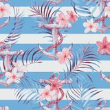 Watercolor sea pattern. Hand-drawn watercolor sea pattern with anchor, plumeria flowers and palm leaves. Summer repeated background Royalty Free Stock Photos
