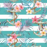 Watercolor sea pattern. Hand-drawn watercolor sea pattern with anchor, plumeria flowers and palm leaves. Summer repeated background Stock Photo