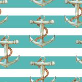 Watercolor sea pattern. Hand-drawn watercolor sea pattern with anchor. Summer repeated background Stock Photo