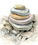 Watercolor sea stones Stock Photos