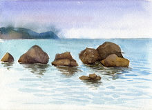 Watercolor sea stones and water Stock Image