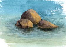 Watercolor sea stones and water Stock Images