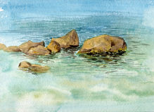 Watercolor sea stones and water Royalty Free Stock Image