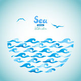 Watercolor sea vector background. Royalty Free Stock Image