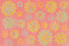 Watercolor seafoam blue and yellow abstract flowers on watercolor pink background Royalty Free Stock Photography