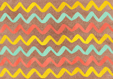 Watercolor seafoam, salmon and yellow hand painted stripes on brown background, chevron Stock Photo