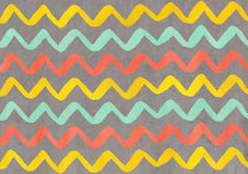 Watercolor seafoam, salmon and yellow hand painted stripes on gray background, chevron Stock Photos