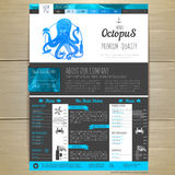 Watercolor Seafood concept design. Corporate identity. Stock Images