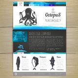 Watercolor Seafood concept design. Corporate identity. Web site design Stock Images