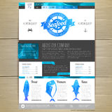 Watercolor Seafood concept design. Corporate identity. Web site design Royalty Free Stock Photos