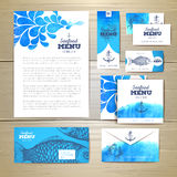 Watercolor Seafood menu design. Corporate identity. Document template Stock Photography