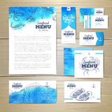 Watercolor Seafood menu design. Corporate identity Royalty Free Stock Photo