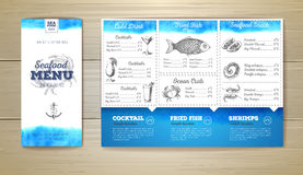 Watercolor Seafood menu design. Corporate identity. Royalty Free Stock Images