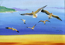 Watercolor seagulls. Original art, watercolor painting of seagulls in flight and Seascape Stock Images