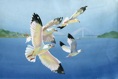 Watercolor seagulls. Original art, watercolor painting of seagulls in flight and Seascape Royalty Free Stock Photography