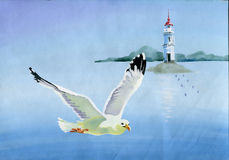 Watercolor seagulls. Original art, watercolor painting of seagulls in flight and Seascape Royalty Free Stock Images