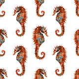Watercolor seahorse pattern Royalty Free Stock Photo