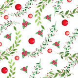 Watercolor sealess pattern. Branches, leaves, berries. Hand drawn illustration Stock Photography