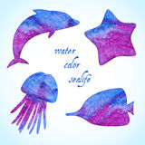 Watercolor sealife silhouettes set Stock Photos