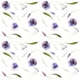 Watercolor seamless autumnal pattern of flowers and insects stock illustration