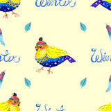 Watercolor seamless background with bird Stock Image