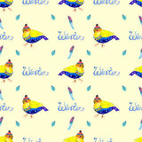 Watercolor seamless background with bird Stock Photos