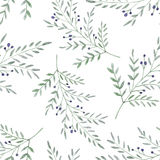 Watercolor seamless background decorative leaves and branches with berries Royalty Free Stock Photography