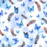 Watercolor seamless background with feathers and blue butterflie Royalty Free Stock Image