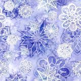 Watercolor seamless background of lilac. With white snowflakes for new year and christmas, oblong with snowflakes, it`s snowing, for decoration and design on stock illustration