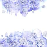 Watercolor seamless background of lilac. Watercolor background of lilac with white snowflakes for New Year and christmas for decoration and design on white Stock Image