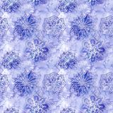 Watercolor seamless background of lilac. With white snowflakes for new year and christmas, oblong with snowflakes, it`s snowing, for decoration and design on royalty free illustration