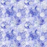 Watercolor seamless background of lilac. With white snowflakes for new year and christmas, oblong with snowflakes, it`s snowing, for decoration and design on Royalty Free Stock Photo