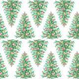 Watercolor seamless background pattern with Christmas tree. Seamless background pattern with Christmas tree. Watercolor hand drawn illustration Royalty Free Stock Image