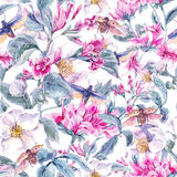 Watercolor Seamless Background with Pink Flowers Stock Photo